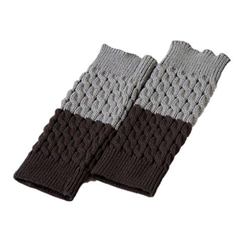 Leoparts Damen Mädchen wendbare zweiseitige Stiefelmanschetten Überzug Häkeln Beinwärmer Socken - - Einheitsgröße - Mädchen Stretch-twill Rock