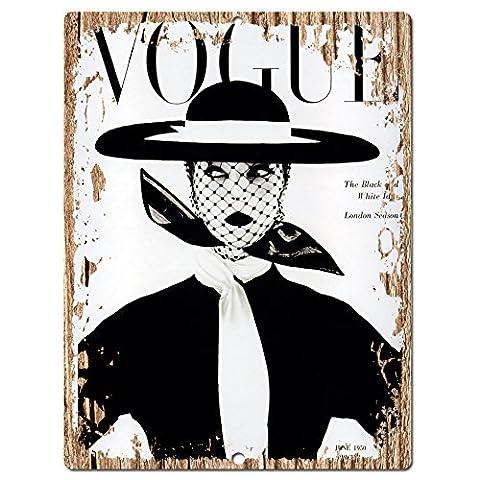VOGUE Magazine Plaque rustique Shabby Chic rétro cuisine Café Pub Vintage Décoration murale