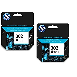 2x Original HP Tintenpatrone F6U66AE HP 302 HP302 für HP Officejet 3800 Series - BLACK - Leistung: ca. 190 Seiten/5%