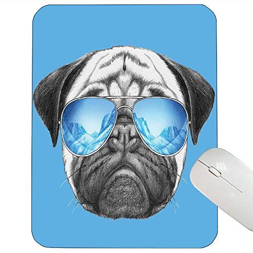 Mops-Stützmausunterlage Mops-Porträt mit Spiegel-Sonnenbrille Hand gezeichnete Illustration des Haustier-Tier-lustigen Mausunterlagenperlen-blauen Schwarzen herein,Gummimatte 11,8