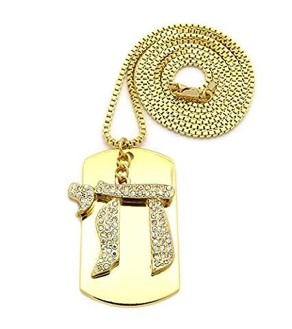 Collier de ton or à pendentif de Dog Tag du