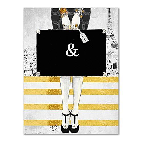 Poster Gemälde Vogue Wand Kunstdruck High-Heels Bild Schwarz Modern Couture Home Decoration Mode Wohnzimmer, 40x60cm