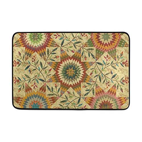 COOSUN Floral Quilt Pattern Fußmatte, Eintrag Weg Indoor Outdoor Tür Teppich mit Non Slip Backing, (23,6 von 15,7-Zoll) - Floral Quilt Backing