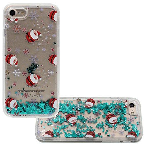 """iPhone 7 Coque Case Joli Noël Père Noël Style Motif et Flottant Vert Étoiles Liquide Eau Désign Dur Transparente étui pour Apple iPhone 7 4.7"""" Anti Choc Color-2"""