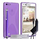 Yousave Accessories-Custodia per Huawei Ascend G6, Colore: Viola, in Silicone, Motivo a X, con Penna capacitiva e Caricabatterie per Auto