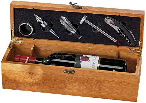 MostroMania - Cofanetto Regalo per Sommelier - Kit Accessori in Metallo per Bottiglie di Vino - Cavatappi, Termometro, Beccuccio, Tappo e Salvagoccia - Idee Regalo per Amanti del Vino