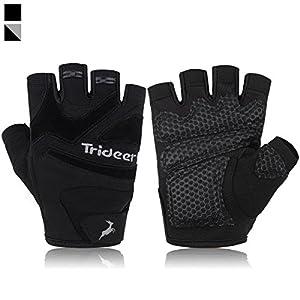 Trideer Non-Handgelenkstütze Fitness Handschuhe mit Anti-Rutsch 3-Stück Silica Gel Grip & Adjustable Klettverschluss Gurt, Trainingshandschuhe für Wods Krafttraining Gewichtheben und Bodybuilding Damen Herren