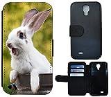 Schutz Hülle Flip Cover Handy Tasche Etui Case für (Samsung Galaxy S4 Mini i9190 i9195, 1093 Haase Kaninchen Rabbit Weiß Grün)