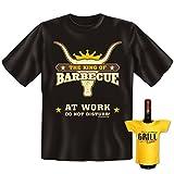 Griller Set T-Shirt + Mini für die Flasche <-> King of Barbecue <-> ein kleines lustiges Geschenk zur Grillparty Goodman Design®Schwarz