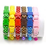 #7: Pet Wholesale Adjustable Puppy and Cat Buckle Safety Neck Collar Strap with Bell (Small)
