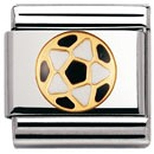 Nomination Composable Classic Italian Footbal Stainless Steel, Enamel and 18K Gold (Ball White/Black) 030204