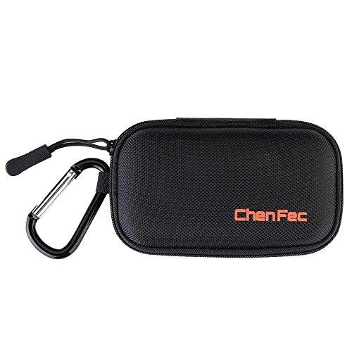 CCHKFEI Tragbarer langlebiger MP3-Player-Koffer, Clamshell-Kopfhörerhülle mit Metallkarabinerclip für MP3-Player, USB-Kabel, Kopfhörer, U-Disk, Ladegerät, Schlüssel, Münzen -