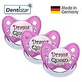 Dentistar® Schnuller 3er Set- Nuckel Silikon in Größe 2, 6-14 Monate - zahnfreundlich & kiefergerecht - Beruhigungssauger für Babys - Pink Drama Queen