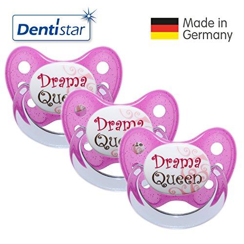 Dentistar Schnuller 3er Set- Nuckel Silikon in Größe 2, 6-14 Monate - zahnfreundlich & kiefergerecht - Beruhigungssauger für Babys - Pink...