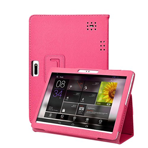 samLIKE Case Cover für 10 10,1 Zoll Android Tablet PC Universal Leder Standplatz Hülle (❤️ Rosa)