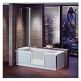 Badewanne mit Tür, Seniorenbadewanne 170x75x57,5cm mit Duschkabine,Wannenschürze und Ablauf/Sifon, Ausführung RECHTS