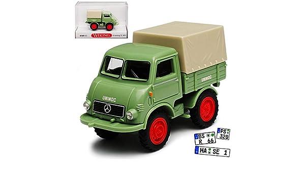 Wiking Mercedes-Benz Unimog mit Pritsche und Aufsatz U401 Gr/ün LKW Truck H0 1//87 Modell Auto mit individiuellem Wunschkennzeichen