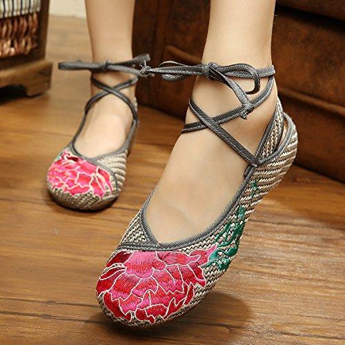 ZLL Red Lotus Bestickte Schuhe, Sehnensohle, ethnischer Stil, Femaleshoes, Mode, bequem ash, color