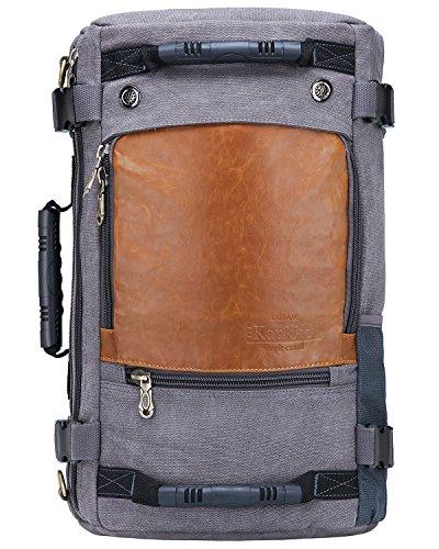 KAUKKO Zaino classico da uomo in tela Borsa casual da giorno Borsa grande per portatile Borsa a spalla da viaggio per escursioni/campeggio/gite all'aperto kaki grigio-10