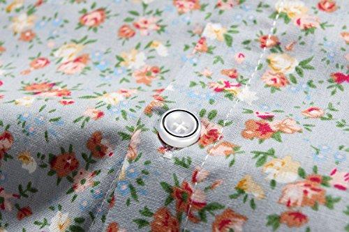 SSLR Herren Blumen Button Down Casual Langarm Hemd Grau