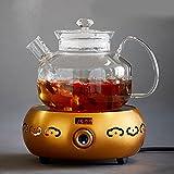 bollitore Teiera di vetro ad alta temperatura addensata teiera filtro Bollitore Tea set, pentola + fornello elettrico dorato di ceramica