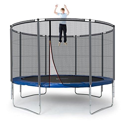 Ampel 24 Outdoor Trampolin 366 cm blau | komplett mit außenliegendem Netz | Gartentrampolin mit 8 gepolsterten Stangen | Sicherheitsnetz mit Stabilitätsring | Belastbarkeit 160 kg
