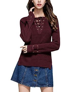 Jersey Mujer Invierno Jerséis De Punto Elegantes Vintage Suéter Pullover Otoño Manga Larga V Cuello Con Cordones...