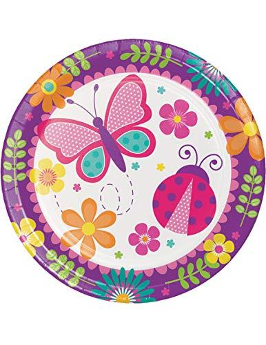 Lot de 8 Jardin Papillon, coccinelle et fleurs dîner Assiettes de fête 22.2 cm