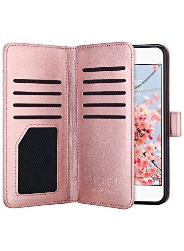 hülle, iPhone 6 Plus Hülle Leder Ledertasche [ Wallet Series ] klappbar Flip Case Cover Schutzhülle mit Kartenfach Brieftasche für iPhone 6s Plus/iPhone 6 Plus 5.5 Zoll, Roségold ()