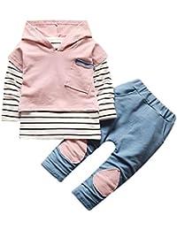 Covermason Conjunto de Bebé Unisex, Raya Camiseta y Encapuchado Chaleco y Pantalones