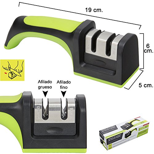 ORYX Aiguiseur Couteaux 2étapes avec Manche, Noir, 7x 6x 20cm