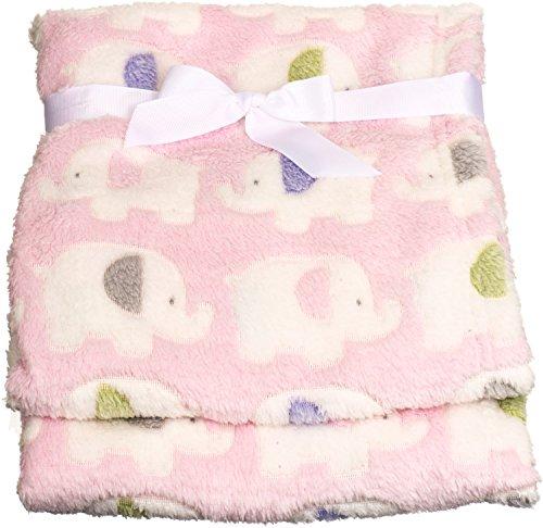 r Fleece-Decke Elefanten rosa, hochwertig und sehr kuschelig, ideal als Tagesdecke, Kinderwagendecke oder Spieldecke geeignet,75 x 90cm ()