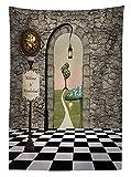 Yeuss Alice im Wunderland Tischdecke Outdoor, Welcome Wonderland Schwarz und Weiß Boden Landschaft Pilz Laterne, Deko Waschbar Picnic Tischdecke, Multicolor, 132,1x 177,8cm, 52