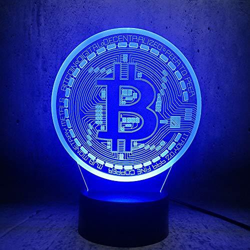 Neue 3D Led Lampe Bitcoin Nachtlicht Beleuchtung Schlafzimmer Schlaf Schreibtisch Seite Dekor Geschenk Net Fans Geburtstagsgeschenke Lava Display Birne (Bitcoin-technologie)