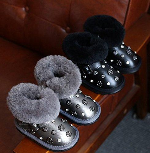 Ohmais Enfants Garçon Fille bottes et bottines botte classiques fille petit talons Chaussure Noir
