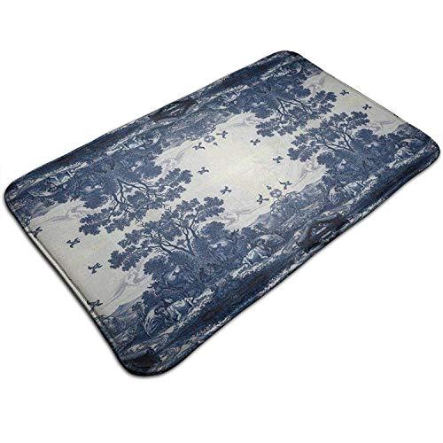 t Blue Ceramic Tile Inspired Pattern Kitchen Carpet Rug Door Mat Rug for Bathroom Outdoor Porch Laundry Living 19.5