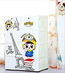 TheTickleToe Thickened Plastic Minion Chest of Drawers Closet Wardrobe Organizer Kids Boy Girl Room Baby Nursery Decor DIY Cartoon 4 Layers Drawers with 2 Locks White