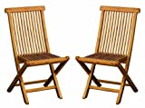 Bentley - Coppia di sedie pieghevoli da esterno in legno di Teak