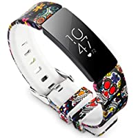 Allbingo Cute Bands Compatible with Fitbit Inspire HR & Inspire & Ace 2, Women Men Floral Print Replacement Strap Accessories Wristband Small Large for Inspire HR & Inspire Small