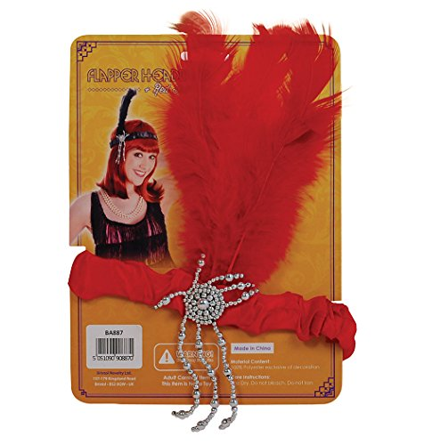 Flapper Headband & Feathers Headwear Accessory for 20s 30s Moll Fancy Dress Headwear Flapper Headband & Red Feathers