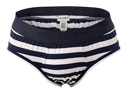 Dolce & Gabbana Herren Slip, Midi Brief Stretch Cotton, Streifen - Blau/Weiß: Größe: Medium (Gabbana Cotton-slip Dolce &)