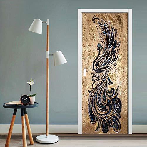 DNFurniture 3D Tür Aufkleber Phoenix-Muster 77X200CM Wandaufkleber Illustration zuhause dekorativ tapete Geschenk selbstklebend wandbild Stereo Ansicht Europa visuell (Halloween Im Phoenix)
