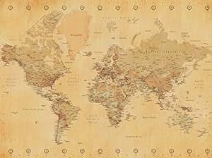 world map weltkarte leinwand vintage stil 60 x 80 cm. Black Bedroom Furniture Sets. Home Design Ideas