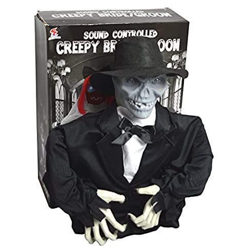 Scary Halloween Party House Voice Controlled Skeleton Groom Toy Horror Prop Accessory