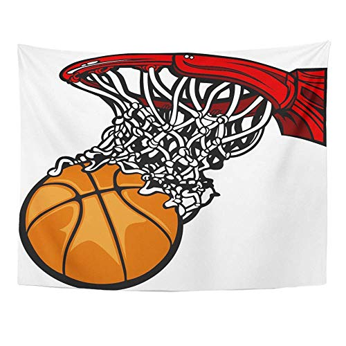 Tapisserie Wall Tapestry, Tapestry Wall Hanging, Art Decor Wall, Net Basketball Hoop with Cartoon Ball Rim Shot Backboard Equipment Sport 60