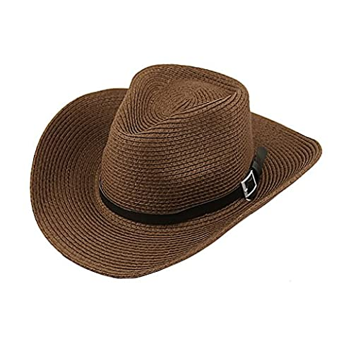 Men's Summer Beach Wide Brim Straw Cowboy Hat with Leather Band UPF 50+ Sun Protection Hat Fedora Trilby Sun Hat Gambler Hat with Chin