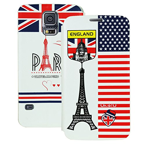 Heartly Country Series Printed PU Leather Flip Bumper Case Cover For Samsung Galaxy S5 i9600 - Eiffel Tower White  available at amazon for Rs.149