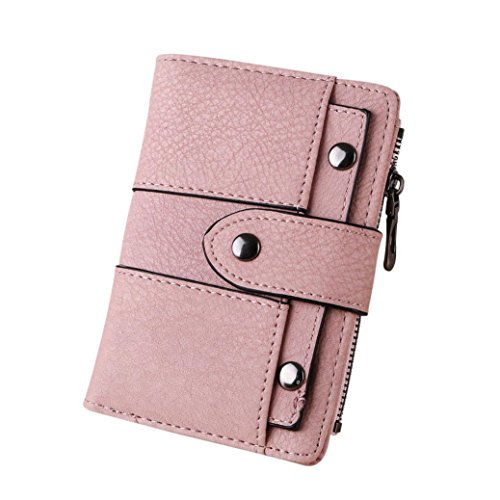 Rovinci Frauen Geldbörse Einfach Retro Nieten Kurze Brieftasche Münze Kartenhalter Handtasche (13.5cmX9.5cmX2cm, Rosa B)