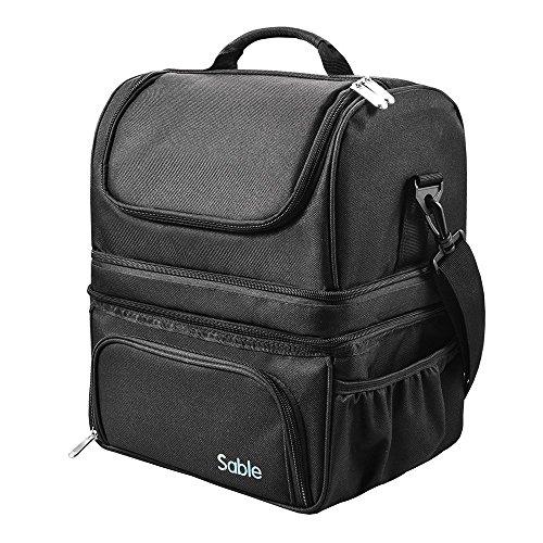 Sable borsa termica pranzo al sacco, cestino portapranzo impermeabile all'aperto picnic deposito con tracolla grande (3 scomparti spaziosi caldi e freddi, grande capacità da 22l) - nero