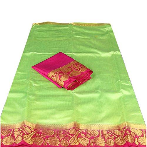 Nirja fab Women Raw Silk Banarasi Saree (Pista)